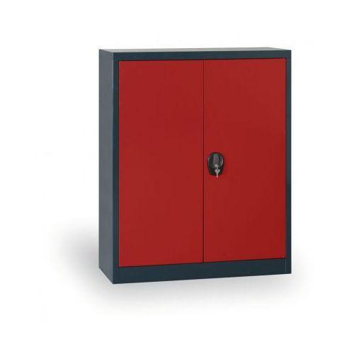 Szafa metalowa, 1150x1200x400 mm, 2 półki, antracyt/czerwony