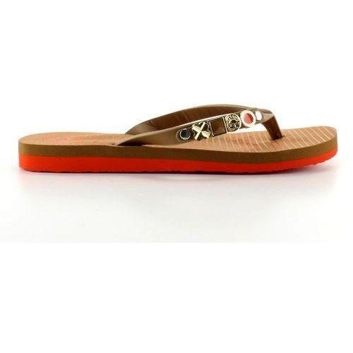 Klapki japonki ze zdobionym paskiem l.brown marki Buty obuwie damskie