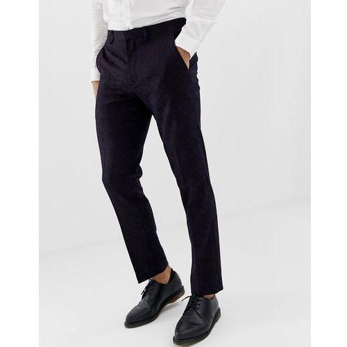 slim fit tuxedo trousers in dark purple - purple, Burton menswear