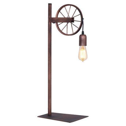 Stojąca LAMPA stołowa ADX 834B rustykalna LAMPKA nocna koło od roweru miedziane