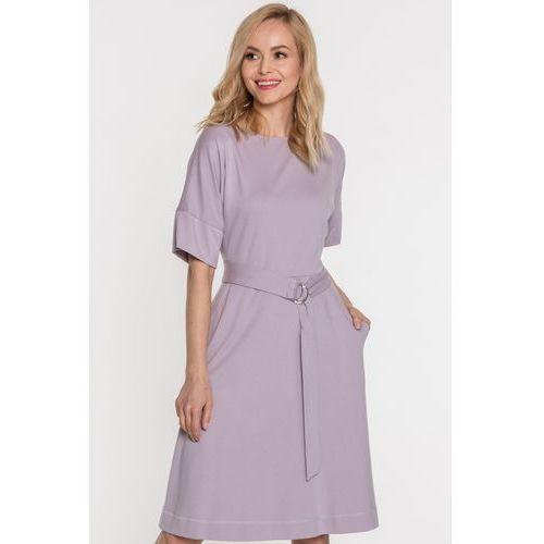 Szara sukienka wiązana w talii - Ennywear, kolor szary