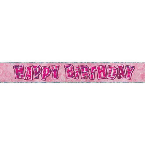 Unique Baner happy birthday różowy na urodziny - 274 cm - 1 szt. (0011179920587)