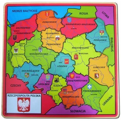 Brimarex Puzzle drewniane układanka z pinezkami mapa polski