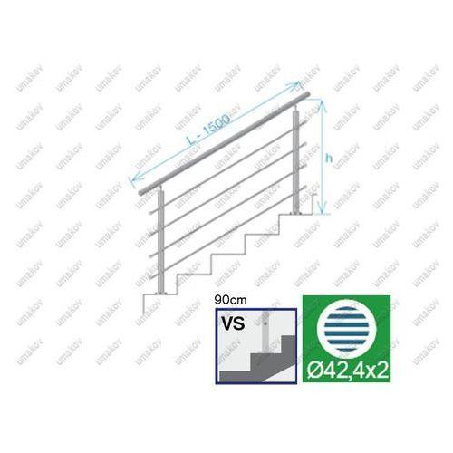 Balustrada nierdzewna AISI304, D42,4/4xd12/H900/L1
