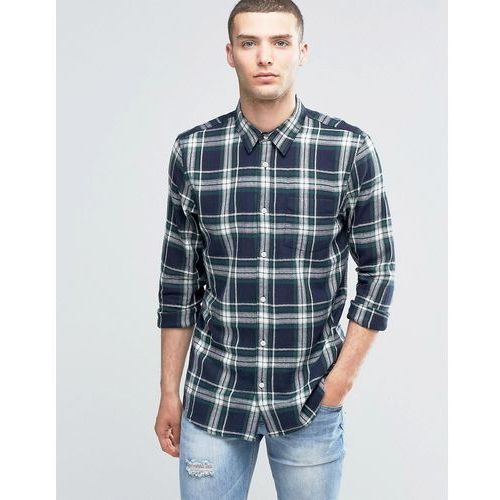 New look  check shirt with long sleeves in navy & green in regular fit - navy
