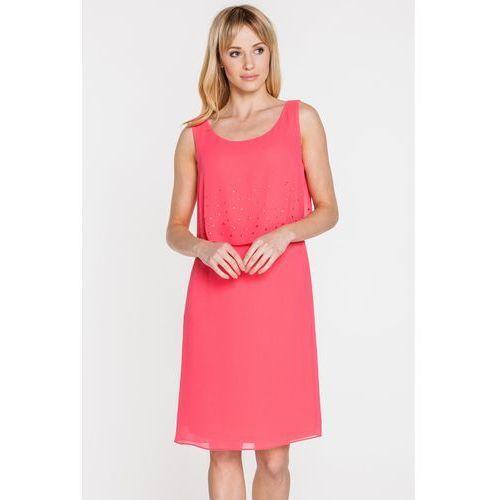Różowa sukienka z nakładaną górą - Vito Vergelis, kolor różowy