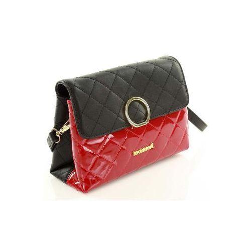 Czarno czerwona torebka pikowana listonoszka marki Verostilo