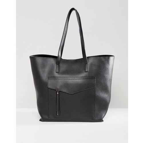 New look minimal pocket shopper bag - black