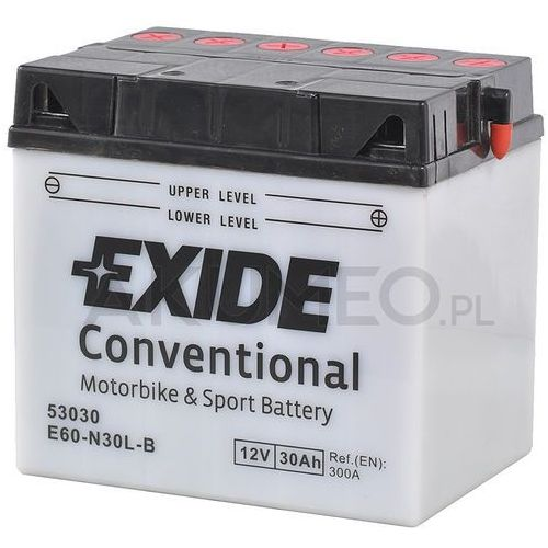 Akumulator conventional e60-n30l-b 12v 30ah 300a prawy+ op marki Exide
