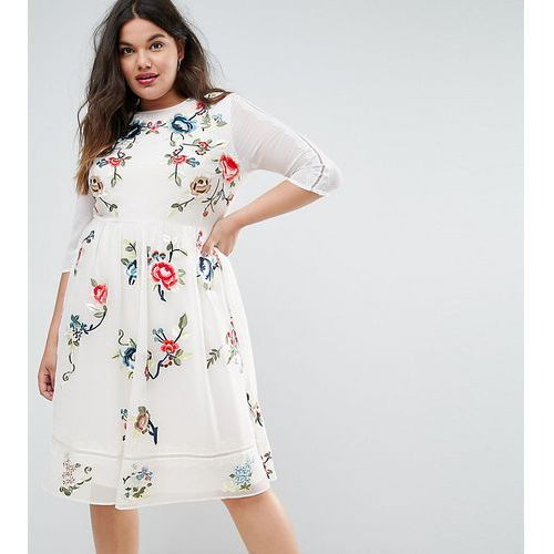 ASOS CURVE PREMIUM Midi Skater Dress With Floral Embroidery - White