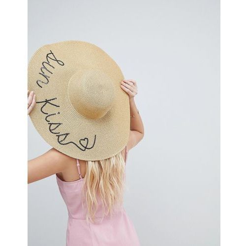 ASOS Straw Metallic Floppy Hat with Sun Kiss Sequin Print and Size Adjuster - Gold