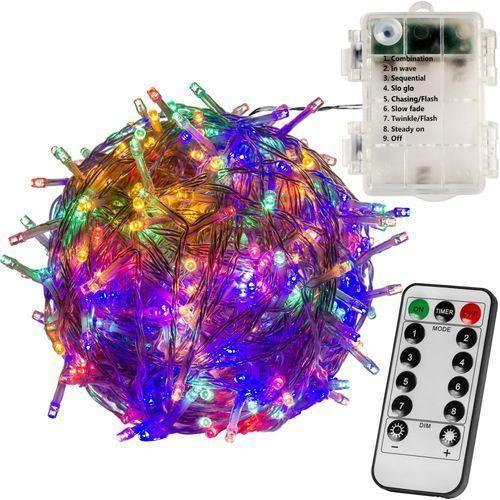 WIELOKOLOROWE LAMPKI CHOINKOWE 100 LED NA BATERIE + PILOT (4048821745812)