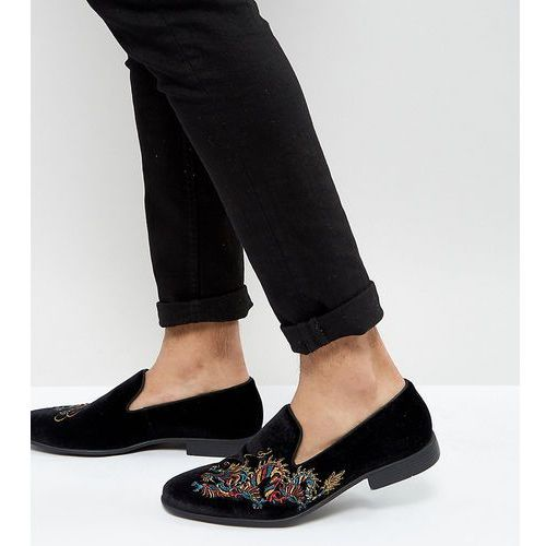 wide fit loafers in black velvet with dragon embroidery - black marki Asos