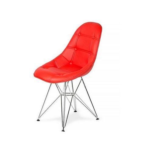 Krzesło eko silver krwisty czerwony t2 - ekoskóra, podstawa metalowa chromowana marki King home