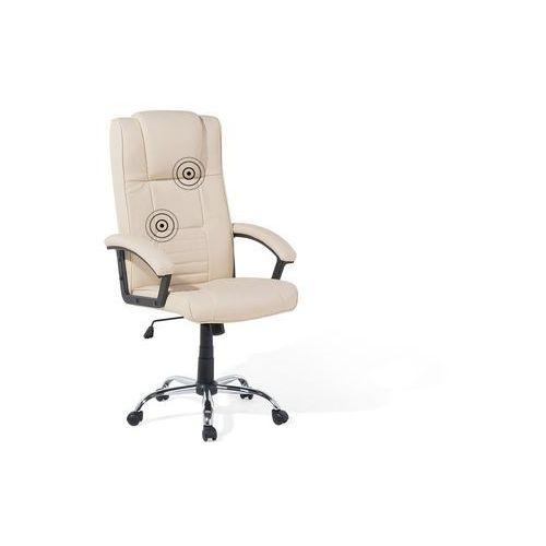 Beliani Krzesło biurowe z funkcją podgrzewania i masażu beżowe comfort (7105278397302)