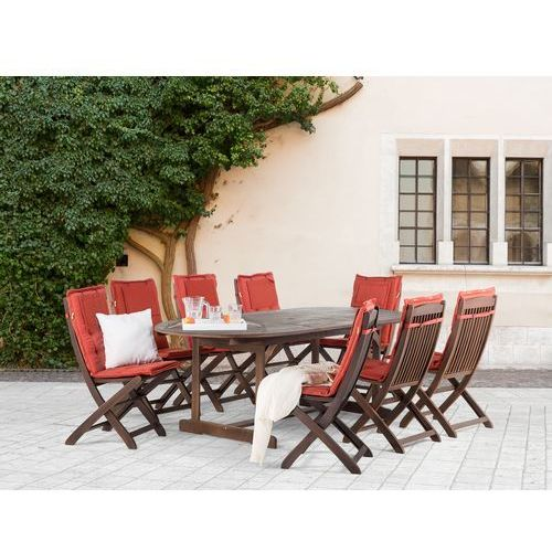 Meble Ogrodowe Rattanowe Zestaw Stoł 8 Krzeseł : Meble ogrodowe  stół + 8 krzeseł + 8 ceglastych poduszek – MAUI