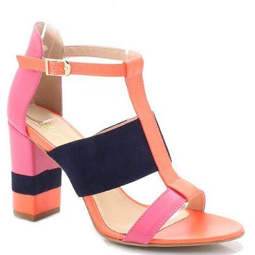 TYMOTEO 17603 NEONY RÓŻ - Sandały na słupku - Pomarańczowy ||Różowy ||Granatowy, kolor pomarańczowy