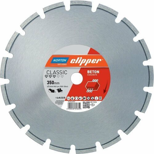 NORTON CLIPPER Classic Beton Concrete 350mm/25,4mm TARCZA DIAMENTOWA 70184626872 (5450248353652)