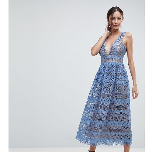 Boohoo Lace Midi Dress - Blue, kolor niebieski