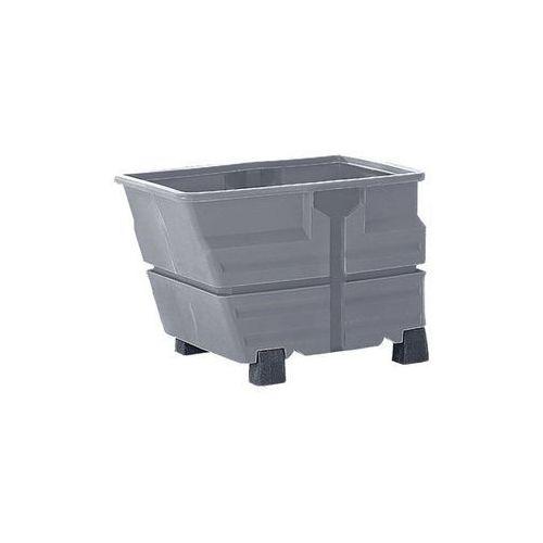 Pojemnik przechylny, PE, bez wieszaka trawersowego, na nogach, poj. 0,8 m³, szar