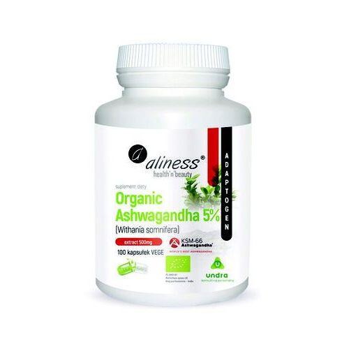 Kapsułki Organiczna ashwagandha 5% Organic ashwagandha Withania somnifera KSM-66 100 kapsułek Aliness