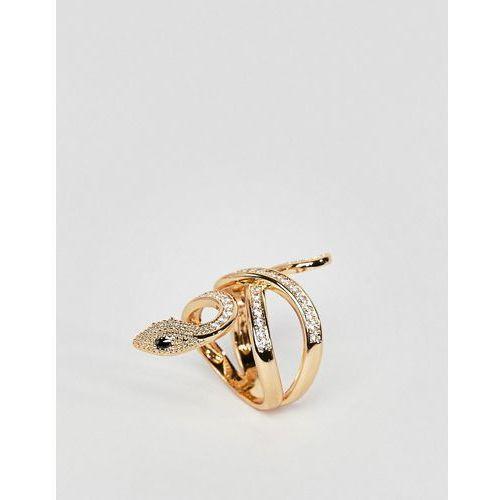 Aldo gold snake statement ring - gold