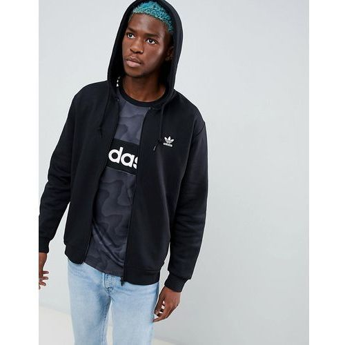 adidas Originals Trefoil zip through hoodie in black DN6016 - Black