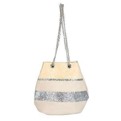 Kremowa torebka damska na ramię z brokatem - beżowy ||srebrny