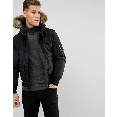 Bershka Short Bomber Jacket With Fur Hood In Black - Black