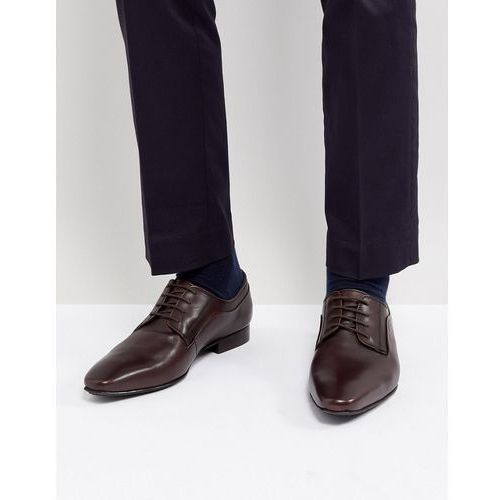 Dune lace up derby shoes in brown high shine - brown