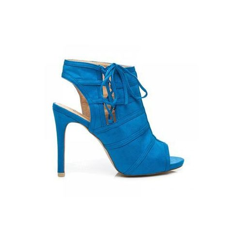Botki na szpilce open toe niebieski marki Zoki