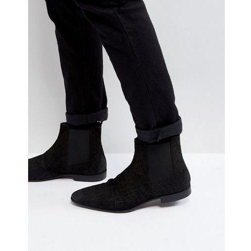 suede slim chelsea boots in black - black, Pier one