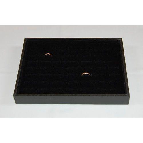 Czarna, mała tacka do prezentacji biżuterii np. pierścionków - 49 osobnych pól