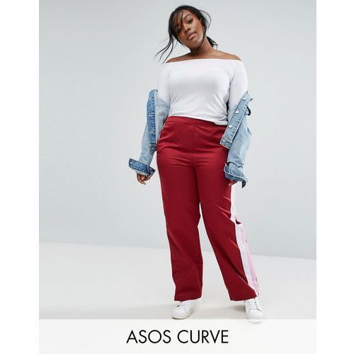 straight leg track pants with side stripes and ring pulls - red marki Asos curve