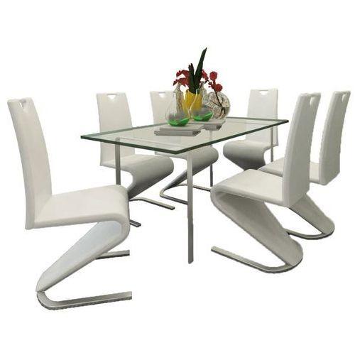 Krzesła wspornikowe do jadalni, 6 szt., sztuczna skóra, białe marki Vidaxl