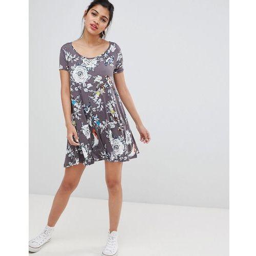 Brave Soul Swing Dress with Keyhole Back in Floral Bird Print - Grey, w 3 rozmiarach