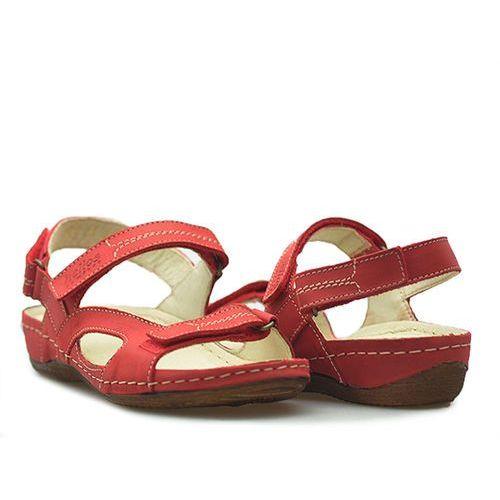 Sandały Helios 221 Czerwone lico, kolor czerwony