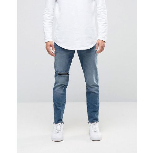 River Island Slim Tapered Fit Jeans In Mid Wash Blue With Rips - Blue, jeans