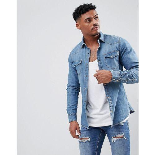 Pull&Bear Denim Western Style Shirt In Blue - Blue, w 2 rozmiarach