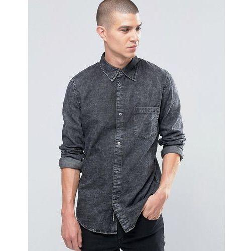 Cheap monday  rude denim shirt concrete ice acid wash - grey