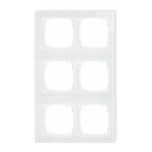 DECO Ramka modułowa 6 krotna (2 poziom, 3 pion) - efekt szkła (ramka biała spód biała) biały 0-0-DRSM-2x3