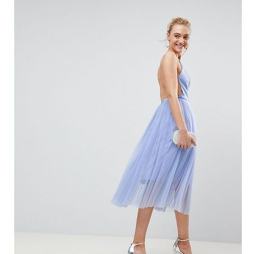 premium scuba pinny midi tulle dress - blue marki Asos tall