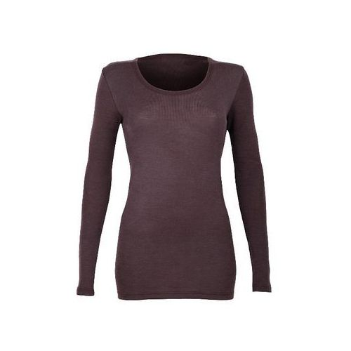 Koszulka damska z dł. rękawem z wełny merynosów 100%- Dilling: rozmiar - M, kolor - śliwkowy