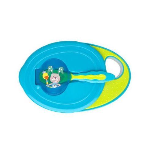 ROTHO Miseczka do nauki samodzielnego jedzenia z przykrywką i łyżeczką aquamarine / applegreen (4250226038615)