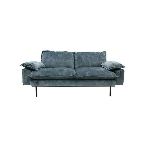 Hk living sofa retro 2-osobowa velvet w kolorze niebieskim mzm4666