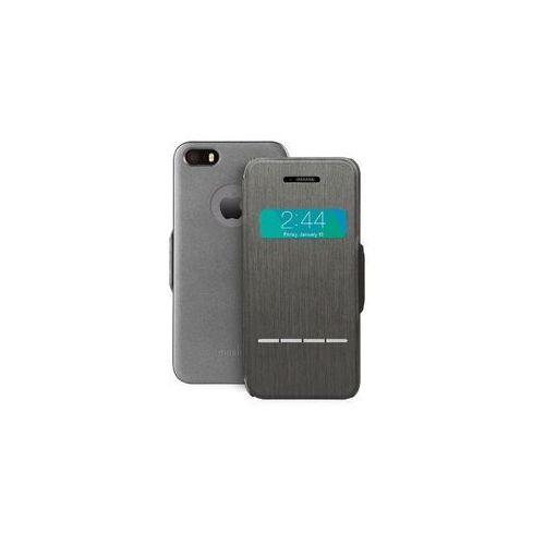 Moshi SenseCover - Etui z klapką dotykową iPhone SE / iPhone 5s / iPhone 5 + folia ochronna na tył (stalowy) (4712052316126)
