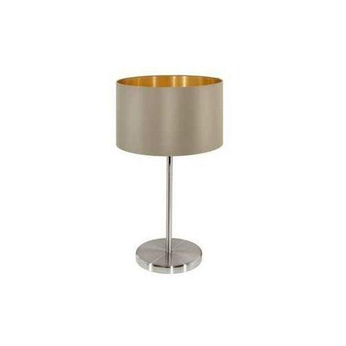 Lampka Eglo Maserlo 31629 z abażurem oprawa stołowa 1x60W E27 cappucino/złoty + żarówka LED za 1 zł GRATIS!