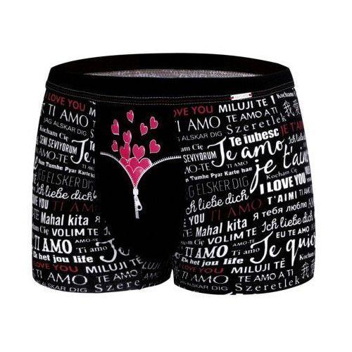 Bokserki męskie Cornette Zipper 010/58 Walentynki czarne, kolor czarny