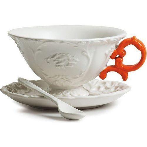 Filiżanka do herbaty ze spodkiem i łyżeczką i-tea pomarańczowa marki Seletti