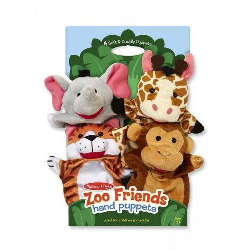 Melissa & doug. Pacynki na rękę zoo komplet 4 szt., melissa & doug